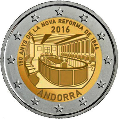 ANDORRA / ANDORRE 2 Euro 2016 150th Ann Reform – 150 Ann réforme 1866 / Delayed… Will be issued in may, sorry about, Andorra Mint problem.