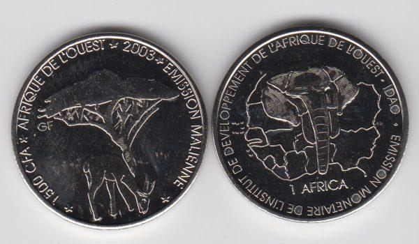 MALI 1500 CFA 2003 Deer / Gazelle
