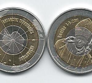 ANTARCTIC $10 2011 Trimetal, John Paul II, unusual coinage