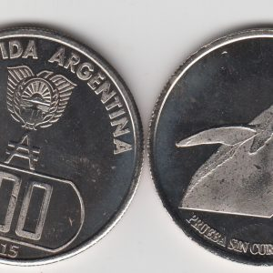 ARGENTINIAN ANTARCTIC 100 Australes 2015 Seal, unusual coinage