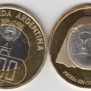 ARGENTINIAN ANTARCTIC 500 Australes 2015, Elephant Seal, unusual coinage
