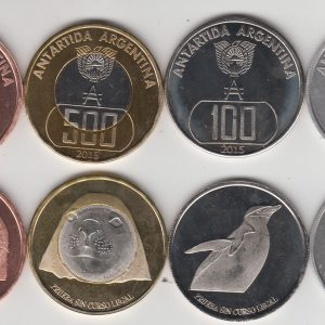 ARGENTINIAN ANTARCTIC lot 5x Set 6pcs 2015, unusual coinage
