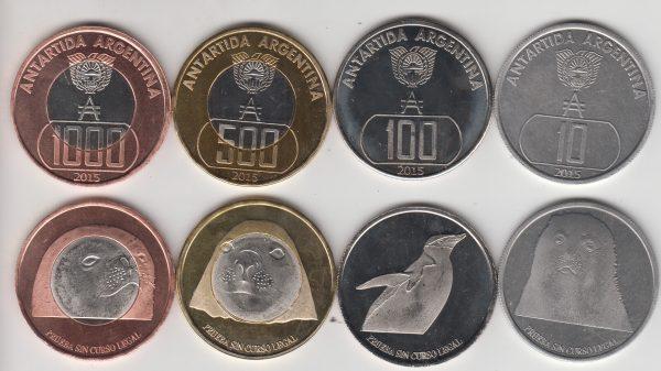 ARGENTINIAN ANTARCTIC lot 5x Set 6pcs 2015, unusual coinage