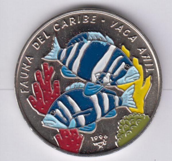 CUBA 1 Peso 1996 SPL/UNC Yaca fish
