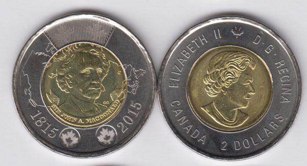 CANADA $2 2015 bimetal John Mc Doanlds