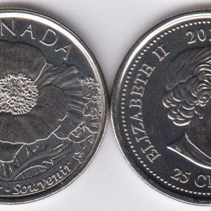 CANADA 25 Cents 2015 Poppy