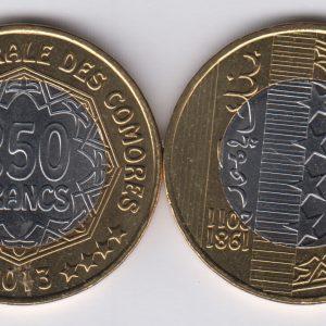 COMOROS 250 Francs 2013 UNC/SPL