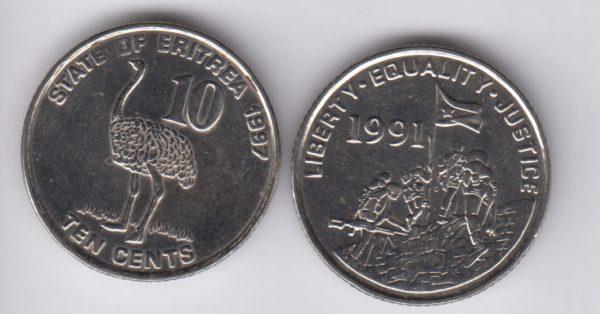 ERITREA 10 Cents 1991 Bird