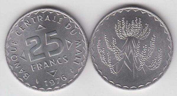 MALI 25 Francs 1976 UNC/SPL