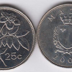 MALTA 25 Cents 2005