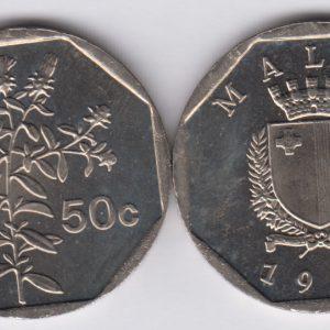 MALTA 50 Cents 1998