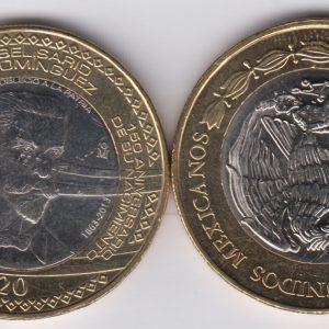 MEXICO 20 Pesos 2013 Belisario Dominguez