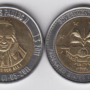 MICRONESIA $10 2011 John Paul II without stars