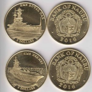NAURU 2pcs 2x $5 2016 HMS Hermes - HMS Royal Oak