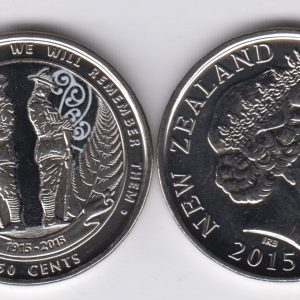NEW ZEALAND 50 Cents 2015 Anzac, colorized