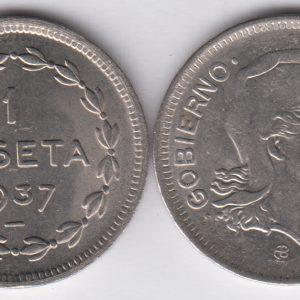 SPAIN ESPAÑA 1 Peseta 1937 Euzkadi