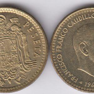 SPAIN ESPAÑA 1 Peseta 1966(74) Franco