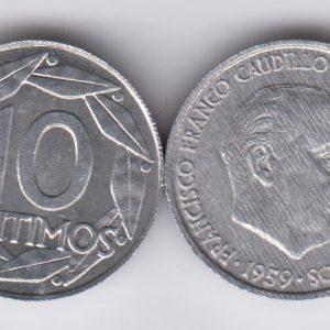 SPAIN ESPAÑA 10 Centimos 1959
