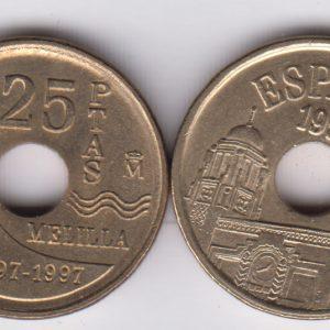 SPAIN ESPAÑA 25 Pesetas 1995 Melilla