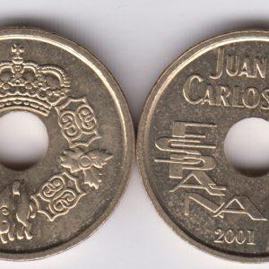 SPAIN ESPAÑA 25 Pesetas 2001 Juan Carlos