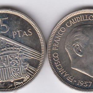 SPAIN ESPAÑA 5 Pesetas 1957(73) Juan Carlos
