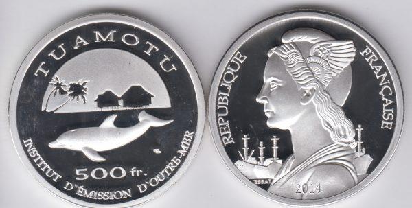 TUAMOTU 500 Francs 2014, Dolphin, unusual coinage