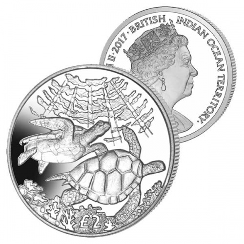 BRITISH INDIAN OCEAN £2 2017 Green Turtles