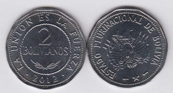 BOLIVIA 2 Bolivianos 2012