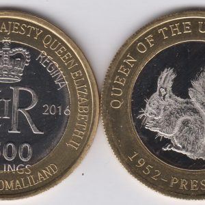 SOMALILAND 2500 Shillings 2016 Squirrel, United Kingdom