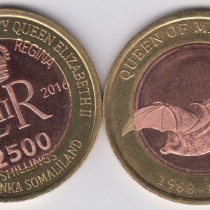 SOMALILAND 2500 Shillings 2016 Bat, Mauritius