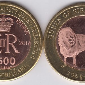 SOMALILAND 2500 Shillings 2016 Lion, Sierra Leone