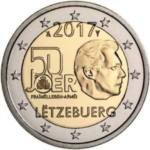 LUXEMBOURG 2€ 2017 50th Ann Military service