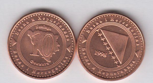 BOSNIA 10 Feniga 1998 KM115