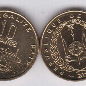 DJIBOUTI 10 Francs 2016 KM23