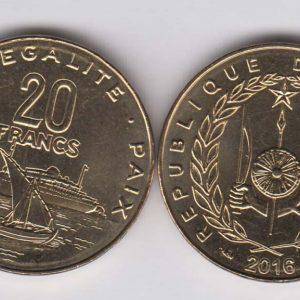 DJIBOUTI 20 Francs 2016 KM24