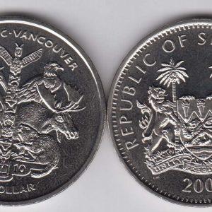 SIERRA LEONE $1 2009 Vancouver Olympics, animals KM360