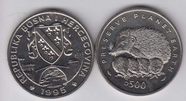BOSNIA 500 Dinara 1995 Hedgehog KM42