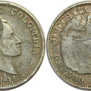 COLOMBIA 50 Centavos 1918 silver KM193.1 VG/TB-