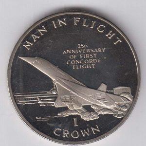 ISLE OF MAN 1 Crown 1994 Concorde Plane KM424