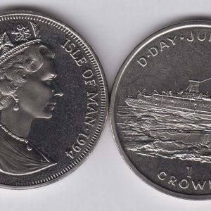 ISLE OF MAN 1 Crown 1994 D-Day, ship KM695