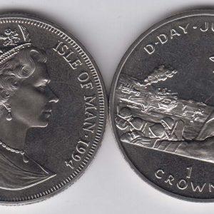 ISLE OF MAN 1 Crown 1994 D-Day, Eisenhower KM700