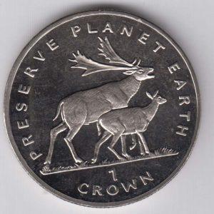 ISLE OF MAN 1 Crown 1994 Deer KM387