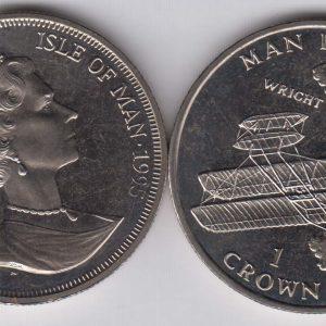ISLE OF MAN 1 Crown 1995 Wright Bros Plane KM437