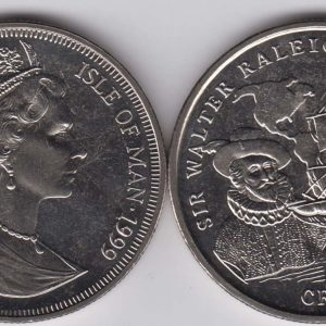 ISLE OF MAN 1 Crown 1999 Walter Raleigh KM955