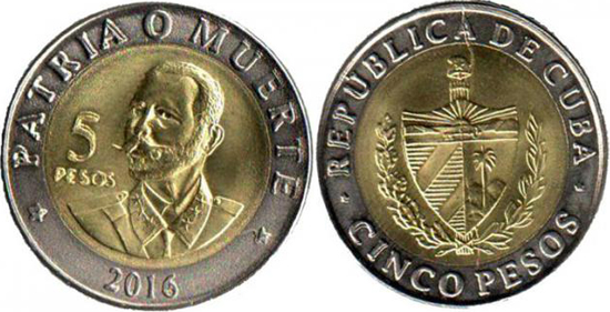 CUBA 5 Pesos 2016 bimetal, Antonio Maceo