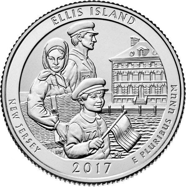 USA $¼ 2017P Ellis island