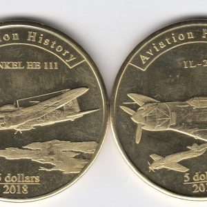 AGRIGAN Set 2x $5 2017, Heinkel HR 111, IL 2 planes, unusual coinage