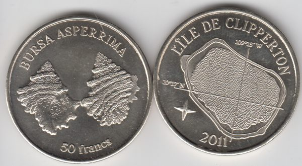 CLIPPERTON 50 Francs 2011, unusual coinage