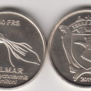 TERRE ADELIE 10 Francs 2011, Squid, unusual coinage