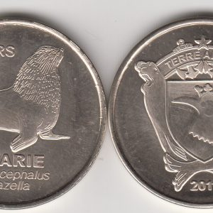 TERRE ADELIE 20 Francs 2011, Otter, unusual coinage